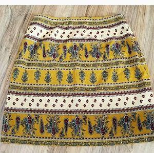 Mustard yellow paisley floral corduroy skirt